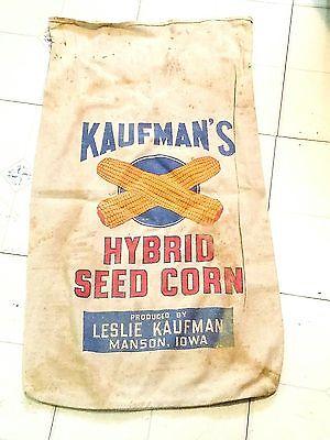 "Vintage 1940's KAUFMAN HYBRID SEED CORN SACK ""MANSON  IOWA"""