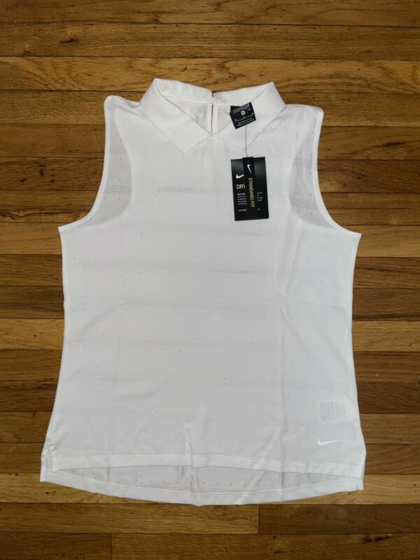 Nike Women's Golf Dri-FIT Ace White Polo Sleeveless Shirt CK5826-100 Size Small