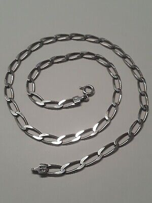 Sterling Silver Oval Cable Link Italy 925 Necklace 18
