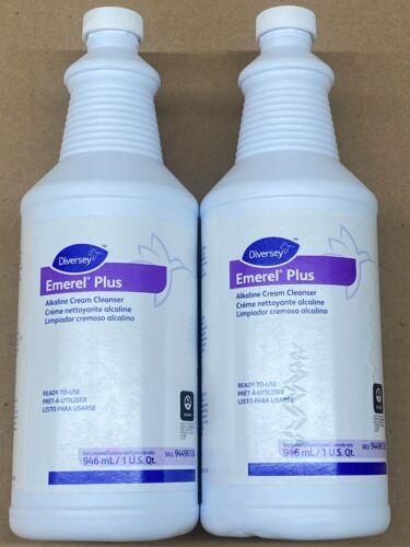 2 Diversey 94496138 Emerel Plus Alkaline Cream Cleanser Bathroom Cleaner 1 Quart