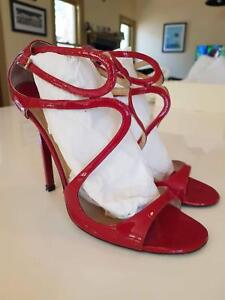 c477a9ea785 Jimmy Choo Lance - Red Patent Leather Strappy Sandals