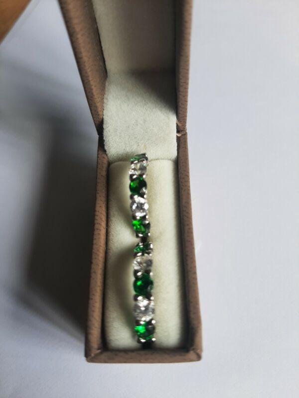 Diamonique 1.6ct tw Simulated Gemstone Hoop Earrings Sterling Silver Green Clear