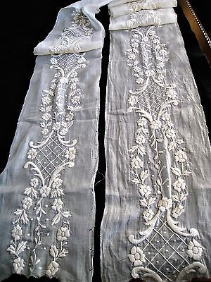 """RARE 1920s Hnd PADDED FRENCH  WHITEWORK EMBROIDERY~BRIDAL~NOS~9-1/2X124"""""""