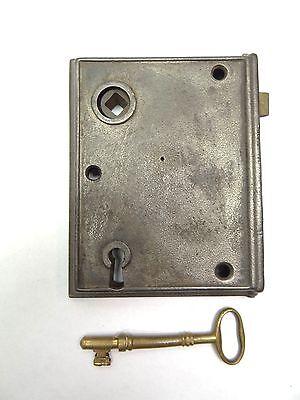 Antique Used Metal Iron Brass Door Deadbolt Lock Assembly & Brass Skeleton Key