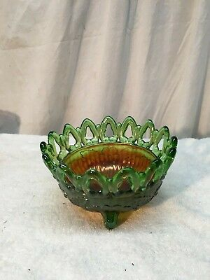 Vintage Northwood Carnival Glass Candy Dish Green Iridescent Footed Bowl Glass Candy Dish Bowl