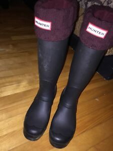 Tall hunter boots size 6 with socks