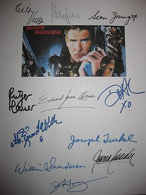 Blade Runner Signed Script X11 Harrison Ford Sean Young Ridley Scott Hauer repnt