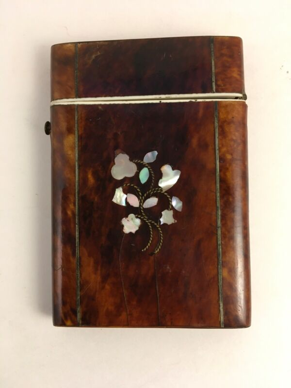 Antique Card Case With Shell Inlay FREE SHIPPING
