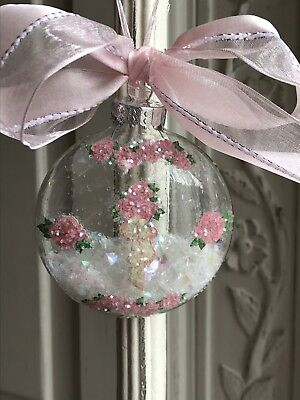 DECOUPAGE PINK ROSES GLASS CHRISTMAS ORNAMENT Victorian Shabby Cottage Chic