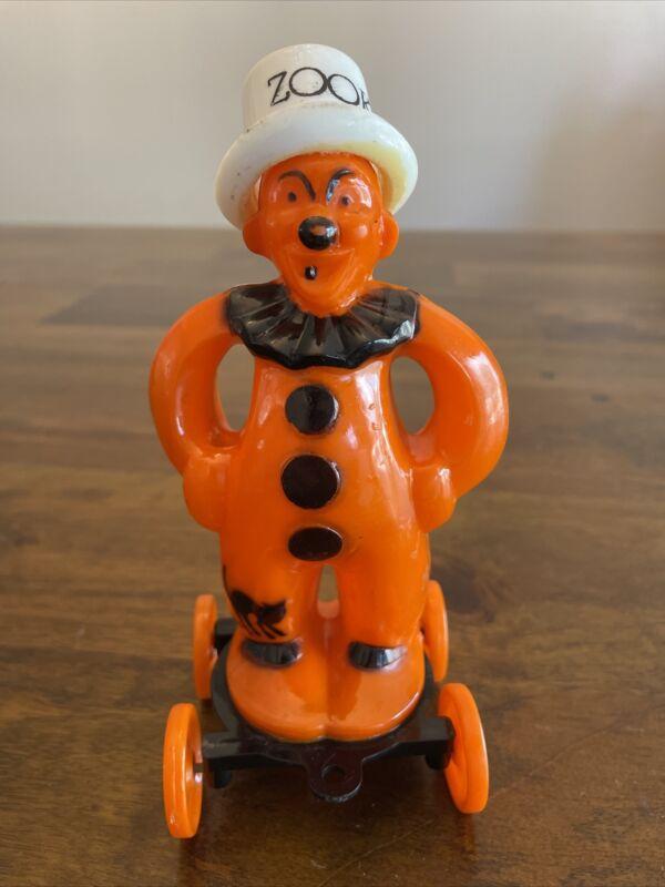 Vintage Rosbro Rosen Plastic Orange and Black Halloween Clown Plastic Zook Toy