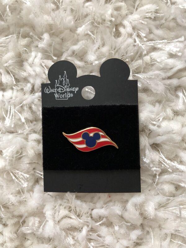 Disney Cruise Line DCL Wave Logo Flag Blue Mickey Mini Pin w/ Card - NEW! #4761