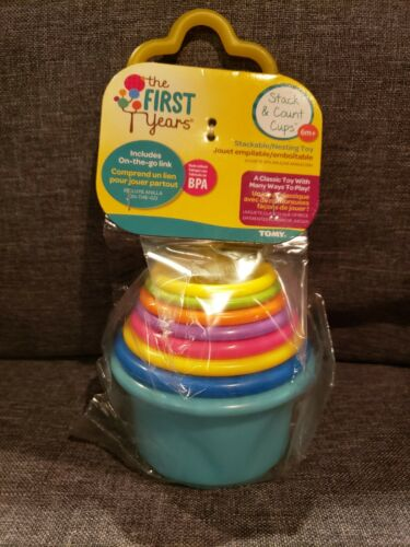 The First Years Stack And Count Cups Toy Learning Baby Educational Infant Colors - $9.00