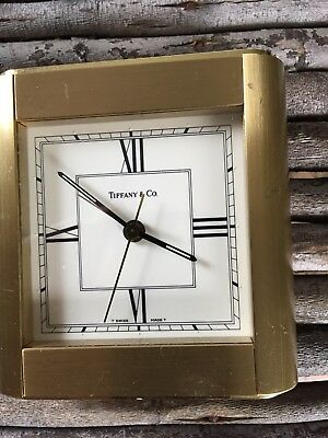 Vintage Heavy Brass Tiffany & Co. Alarm Travel Desk Clock. Swiss Made. Working.