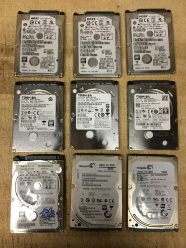 Lot of 9 Name Brand 500GB Thin 7mm Laptop SATA HDD (2 are SSHD) Tested