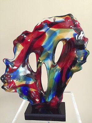 Murano Sergio Costantini Abstract Face Multi-Color  Glass Sculpture