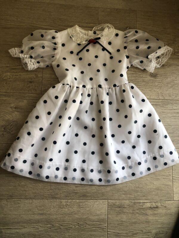 Vintage Girls Dress Toddler Full Skirt Sheer Polkadot Sz 6 Party Dress