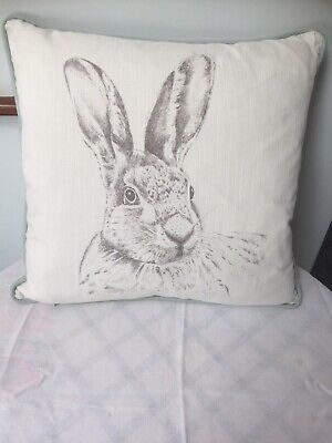 NEW STIL HAVEN Limited Edition, Grey Hare Design Cushion, Piped, Dot Print Back Dots Grey Design