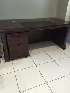 Solid wood desk with mobile filing cabinet Buderim Maroochydore Area Preview
