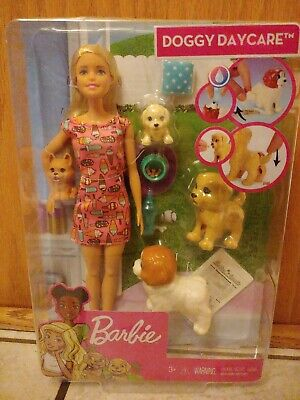 Barbie Doggy Daycare Doll and 4 Pets NEW