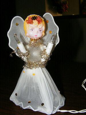 Vtg 10 Light Christmas Angel Tree Topper Nylon Mesh Plastic Head Painted Hair EC