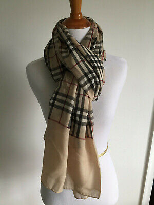 AUTHENTHIC BURBERRY CASHMERE SILK BLEND SCARF NOVA CHECK WOMEN SPRING SUMMER