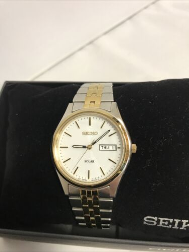 SEIKO Solar Two Tone White Dial Stainless Men s Watch - SNE032 MSRP 215 - $36.55