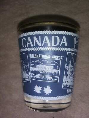 Souvenir Shot Glass Toronto Canada Gold Vintage Rim Blue  & White (Designer Glasses Toronto)