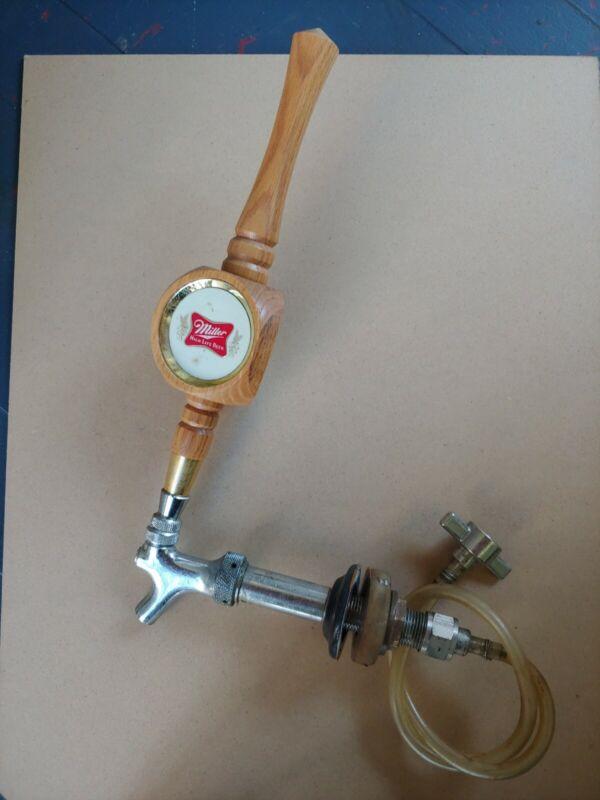 "Vintage Miller High Life The Champagne Of Beers Beer Tap Handle Wood 11.5"" L"