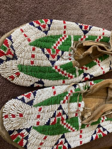 Lakota Sioux Moccasins Antique Native American Beaded Deer Hide Hard Soles