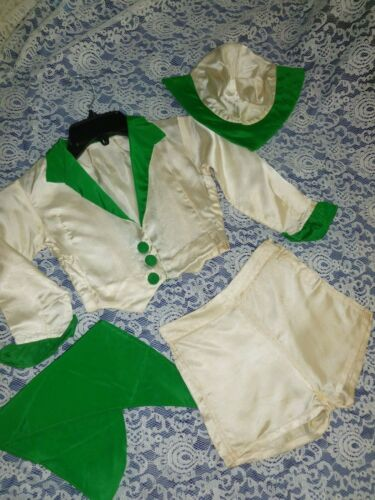 Darling Antique Girls-4 pc Short Set-Vintage Green White Satin-hat-scarf Jacket