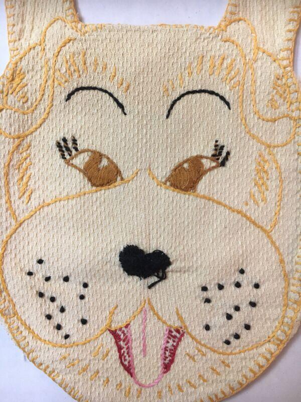 Antique Off-White Cotton Flannel Baby Bib 'Hand-Embroidered