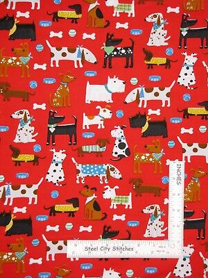 Puppy Dog Animal Bone Bowl on Red Cotton Fabric HG&Co Daddy & Me By The Yard