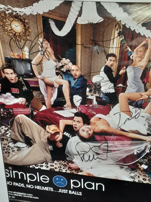 SIMPLE PLAN THE BAND POSTER SIGNED BY MEMBERS AUTOGRAPHED
