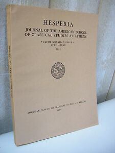 HESPERIA journal of classical studies at Athens 1968 n°2 - France - Sujet: Archéologie Langue: Anglais - France