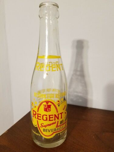 Vintage Regent Supreme Pittsburgh 18 PA 7 oz Glass ACL Soda Pop Bottle