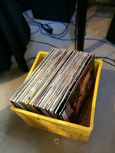 Crate of Vinyl records