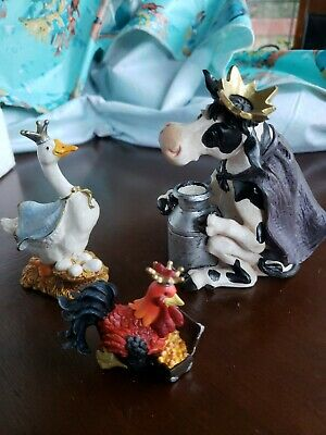 Montana Lifestyles Silversmiths Nativity Figurine Set Goose, Cow, Rooster