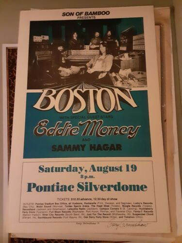 BOSTON 1978 CONCERT POSTER DETROIT MI with e Money and Hagar signed G Grimshaw!!