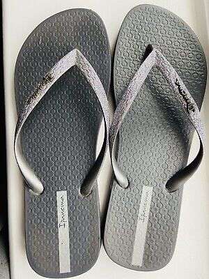 Ipanema Flip Flops Silver Glitter Size 40, Worn A Couple Of Times.