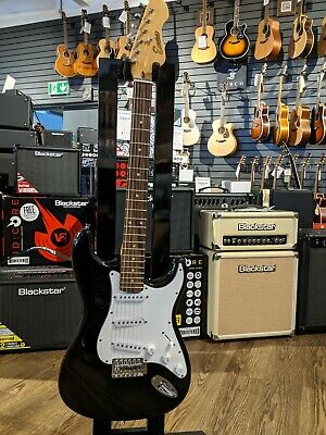 Encore Stratocaster Style Electric Guitar Black
