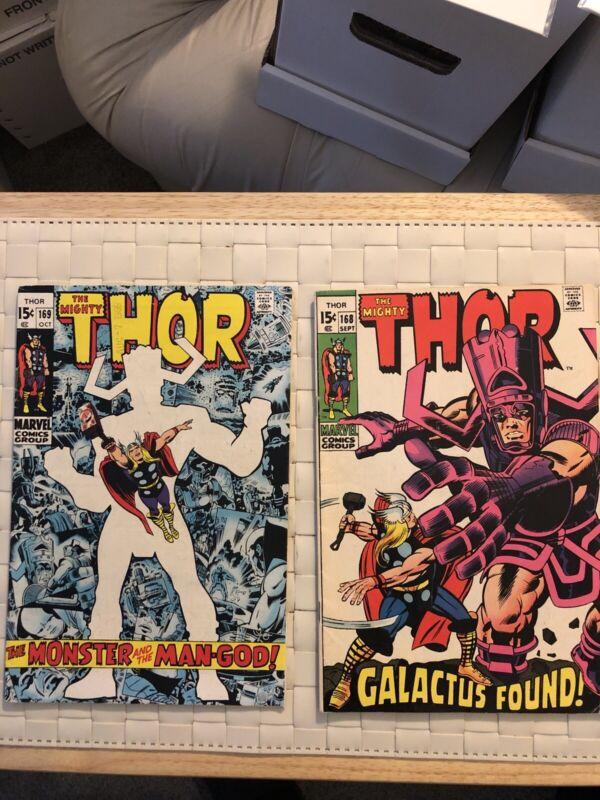 Mighty Thor #168, 169 (Marvel, 1969) Origin Of Galactus Silver Age Jack Kirby