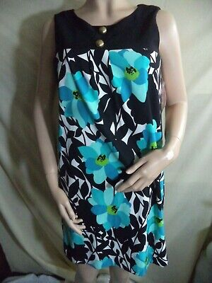 8a6d7af254c3 Dress Barn Womans Black & White & Multi-color Print Floral Poly Dress Size  8 NWT