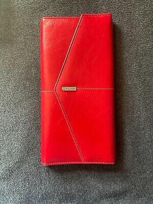 Rolodex Portfolio Wallet 10 X 5 Business Card Holder - Stylish Red Tri-fold
