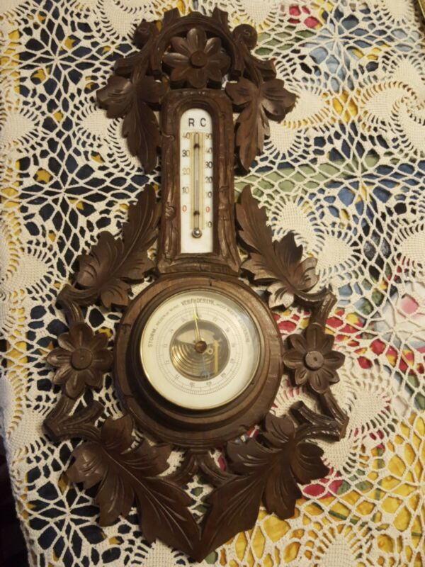 ANTIQUE REAUMUR SCALE ◇ BLACK FOREST WOOD CARVING BAROMETER THERMOMETER