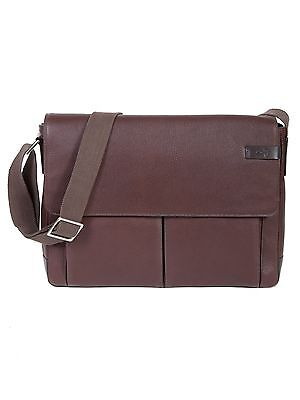 NEW SCULLY LEATHER TRAVOLTA MESSENGER BRIEF BAG WITH TABLET POCKET BROWN - Flap Pocket Leather Briefs