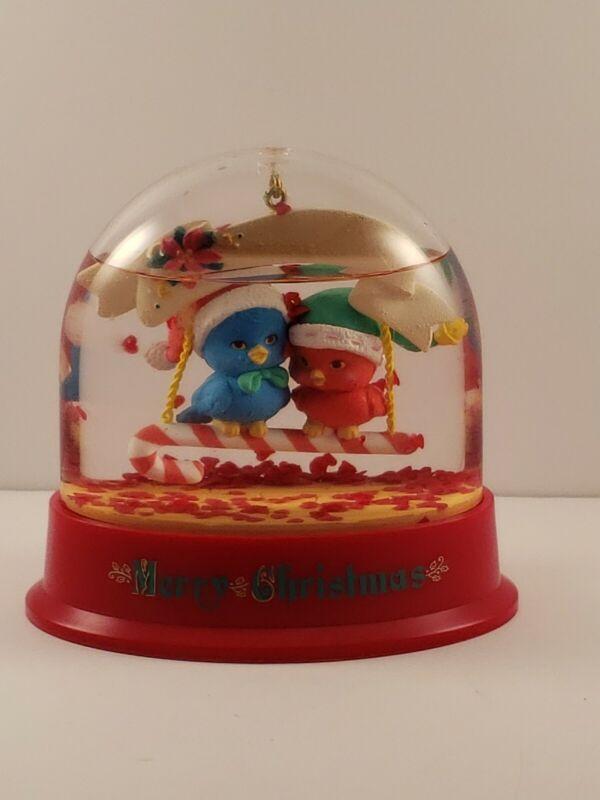 Christmas Snow Globe Love Birds Holiday Decoration Xmas 1993 Vintage