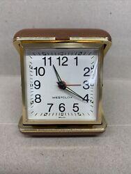 Vintage Westclox  Travel Alarm Clock -   Brown Folding Case