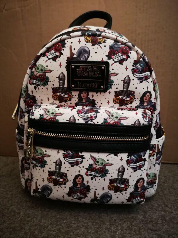 Star Wars Loungefly Mini Backpack Mandalorian Tattoo AOP The Child IG-11 Cara D