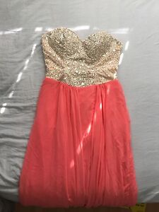 Sparkly, strapless, coral prom dress!