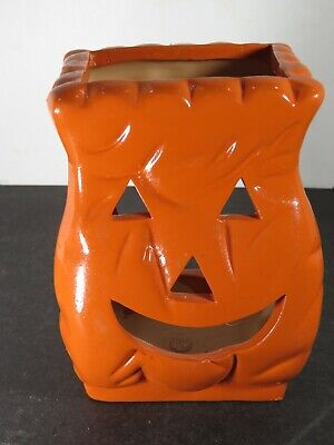 Vintage Ceramic Bag Pumpkin Jack O Lantern Halloween Decoration B516